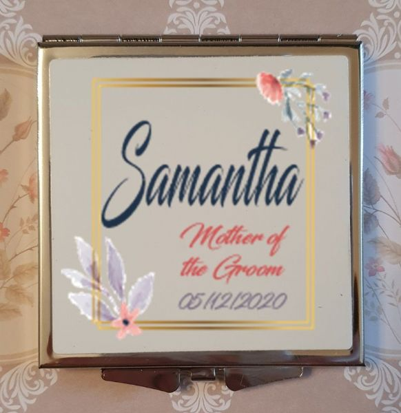 Personalised Wedding Compact Mirror - Design 12